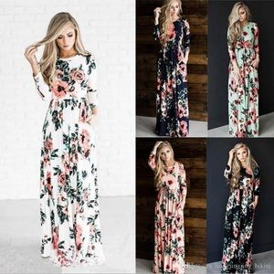 White maxi dress with floral print & pockets NWT